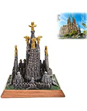 Home Decorations, Spanish Sagrada Familia Cathedral, Architectural House Model Decorations, Decorative Collections Small Sculptures, Tourist Souvenirs,11.3cm×13cm×13.3cm-Brown