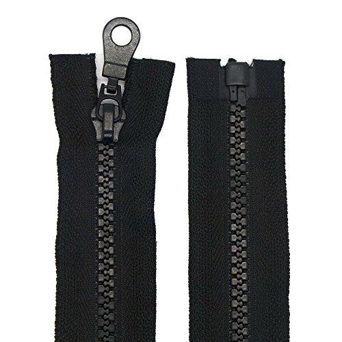 Reißverschluss Kunststoff 5mm grob teilbar Schwarz 55 cm