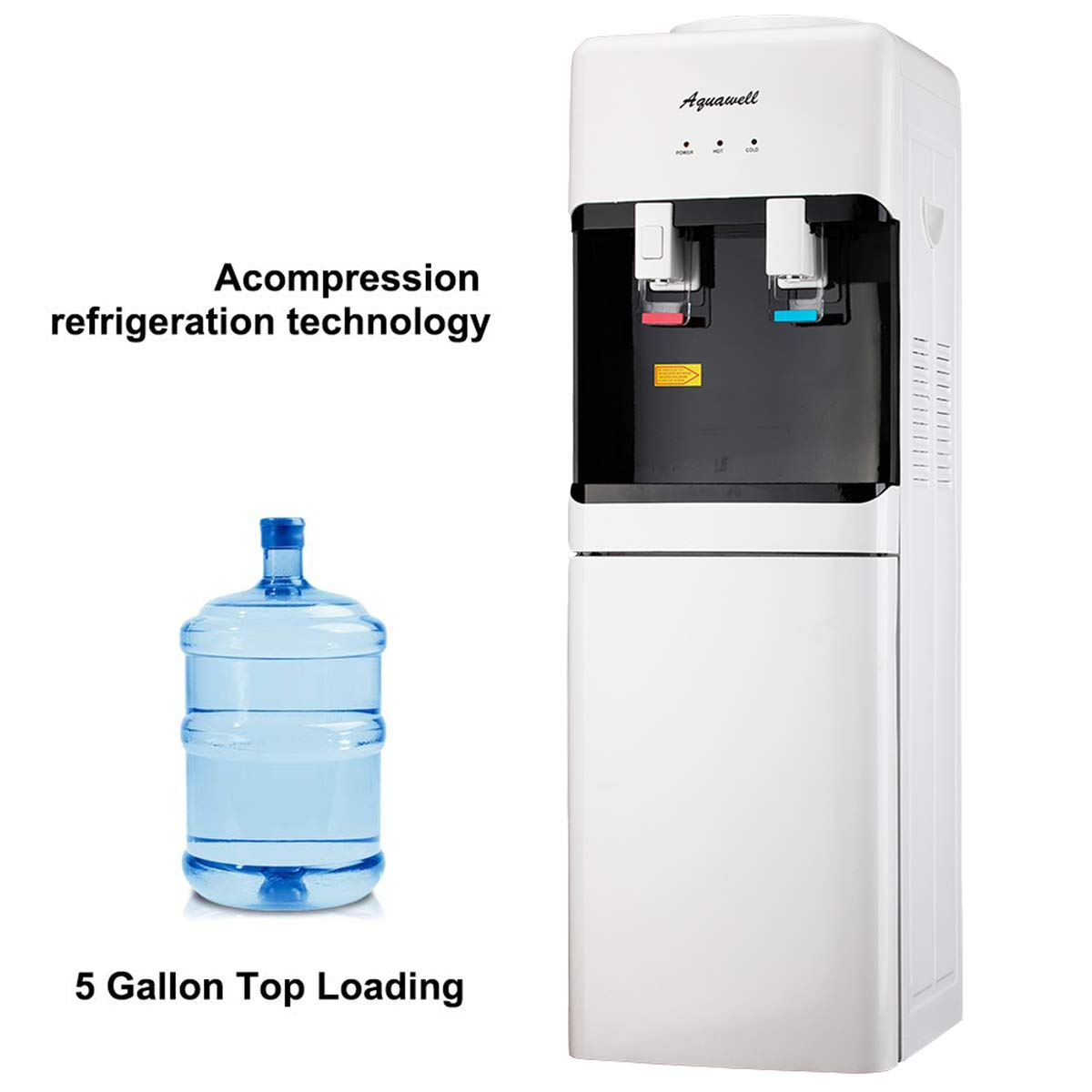 AQUAWELL Water Dispenser, 5 Gallon Top Loading Hot & Cold Water Dispenser, Freestanding with Storage Cabinet, Compression Refrigeration Technology, Stainless Steel White by AQUAWELL