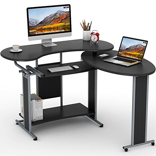(LITTLE TREE L-Shaped Computer Desk, Rotating Modern Corner Desk & Office Study Workstation, for Home Office or Living Room (Black))