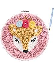 RuiyiF Latch Hook Kits for Kids Beginner Preprinted, DIY Rug Hooking Kit with Punch Needle Colorful Yarn for Kids Adult (Fox)