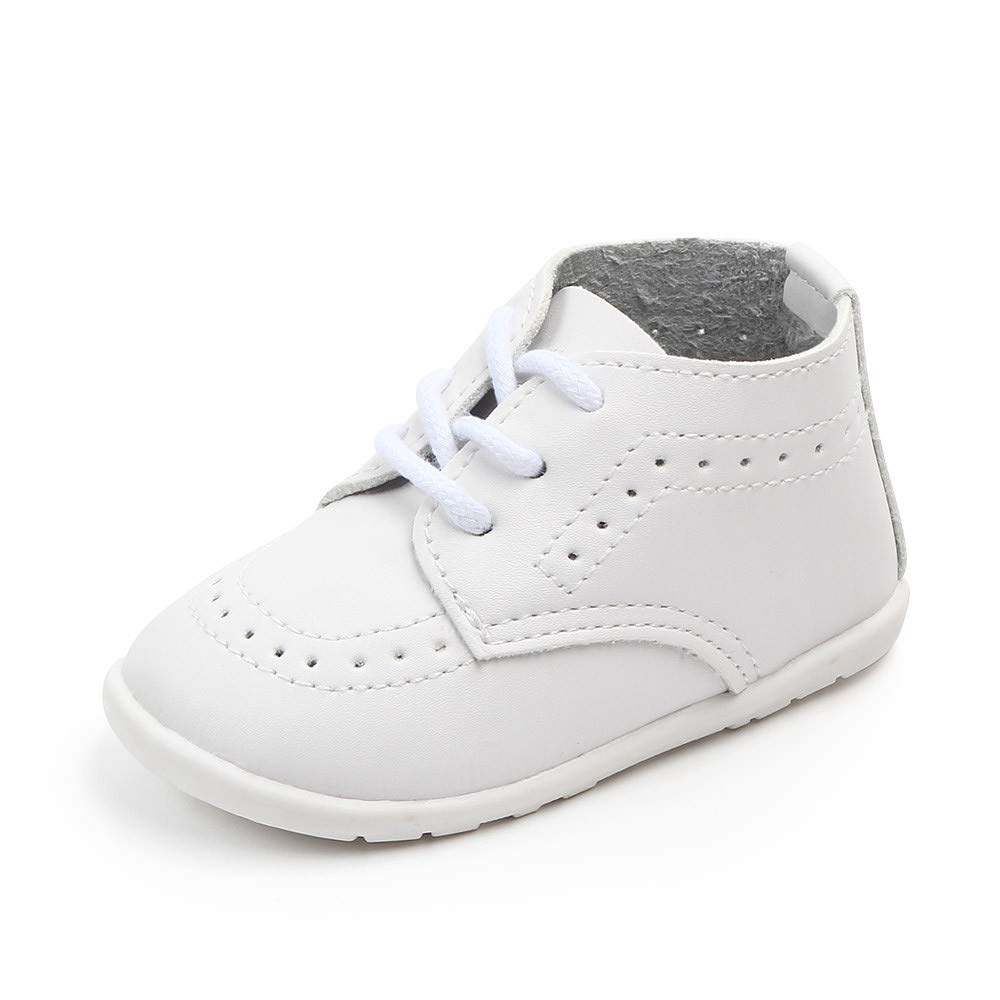 Meckior Toddler Baby Boys Girls Classic High Top PU Leather Wedding Loafers Brogue Infant Oxford Dress Shoes First Steps Walking Flat Crib Shoe 3-24 Months