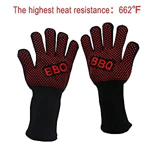 Heat Gloves Oley 1 Pair Heat Insulation Gloves BBQ Grill Oven Gloves Cotton Lining and Silicone Fingers Long Non-Stick BBQ Grill Mat, Insulated Protection for Barbeque, Camping