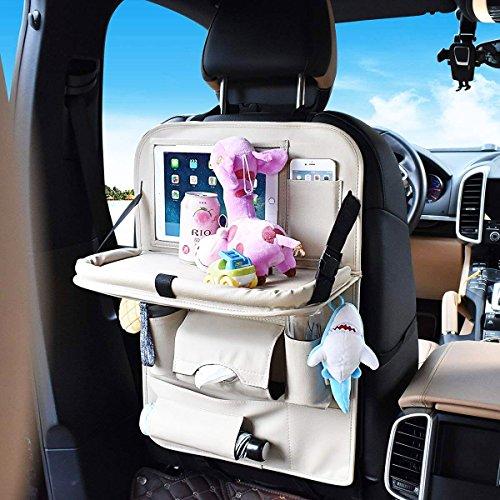 SUASI PU Leather Backseat Car Organizer Baby Tray Foldable Dining Table Desk Back Seat Tablet Ipad Holder Tissue Storage Bag Pockets Kids Travel (1 Pack Beige)