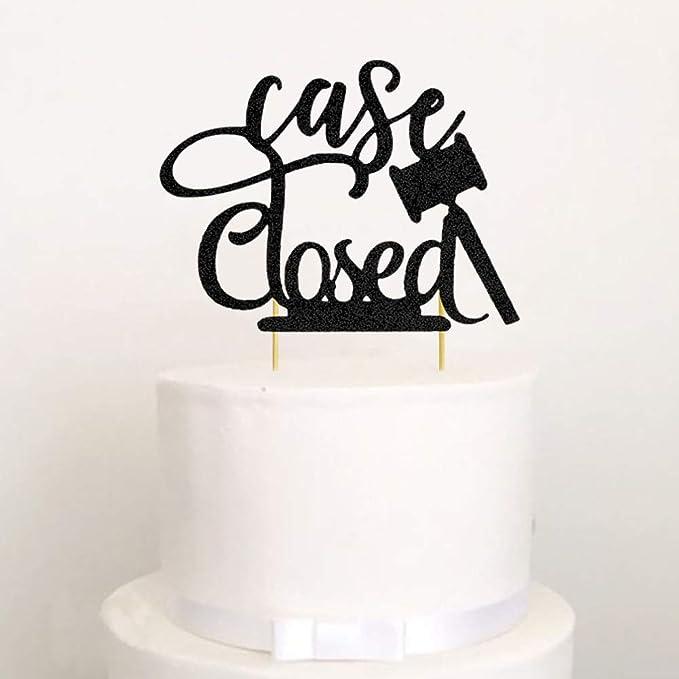 Law School Graduation Party Decoration Supplies Congrats Lawyer Cake Topper Black Glittery Law School Survivor 2021 Cake Topper