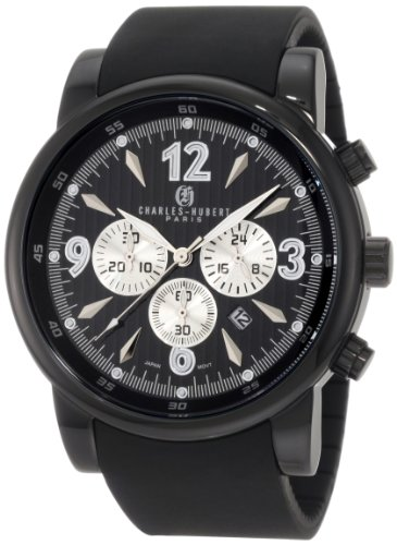 Charles-Hubert, Paris Men's 3882-B Premium Collection Black Ion-Plated Stainless Steel Chronograph Watch