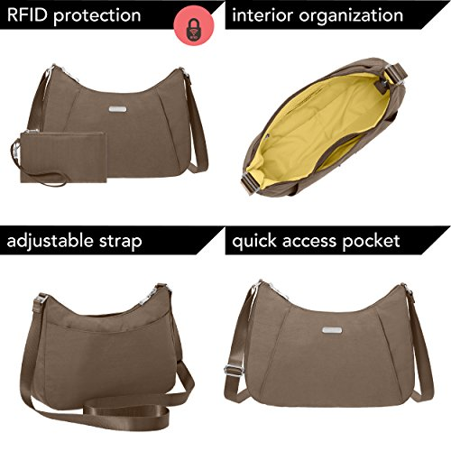 Zippered Wristlet Bag Removable Roomy Baggallini Pockets Hobo Crossbody Lightweight Slim with RFID Purse �C Portobello and 6txnpwzx