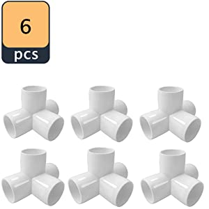 "Sasonco 4 Way PVC Corner Fitting 3/4"" PVC Elbow Corner Side Outlet Tee Fitting PVC Three Quarter Elbow Fittings for Furniture Grade,Greenhouse shed Pipe Fittings and Tent Connection 6pcs"