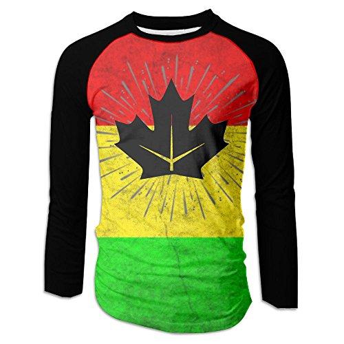 Canada Maple Leaf Splashing Men's Raglan Baseball T-Shirts Long Sleeve Baseball Tees - Canada Clothing Versace