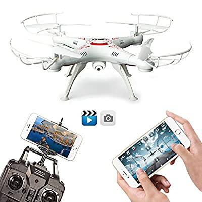 FengLan Remote Control Mode 4 Channel 2.4G 6-Axis Gyro RC Headless Quadcopter X5SW-1 Drone UAV with 2MP HD Wifi Camera (FPV) for Real Time Video Transmission (White) by FengLan