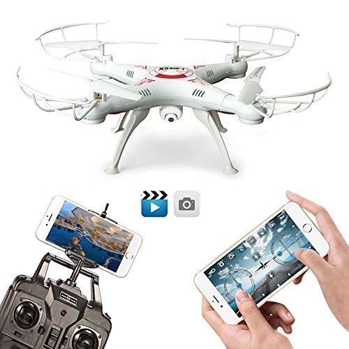 FengLan Remote Control Mode 4 Channel 2.4G 6-Axis Gyro RC Headless Quadcopter X5SW-1 Drone UAV with 2MP HD Wifi Camera (FPV) for Real Time Video Transmission (White)