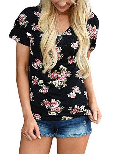Mujer Verano Casual Floral Impresión Tee Tops Camiseta Manga Corta Con Cuello V Camisetas Cortas T-shirt Negro