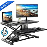 EleTab Electric Height Adjustable Standing Desk Converter Sit to Stand up Power Riser 32 Black Tabletop Workstation fits Dual Monitor