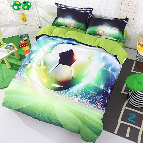 Luckey1 Football Print 3D Duvet Covers Bedding Sets Twin/Full/Queen/King, Cotton Comforter Cover Sets 4-Piece, 1 Duvet Cover, 1 Flat Sheet, 2 Pillowcases (Twin, Style-6) - 2 6 Bedding
