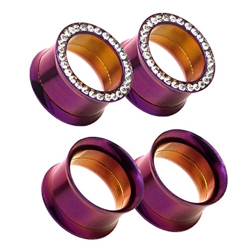 Awinrel Purple Stainless Steel Screwed Ear Gauges Tunnel Plugs Rhinestone Gem Tunnels Stretcher 2g(6mm)