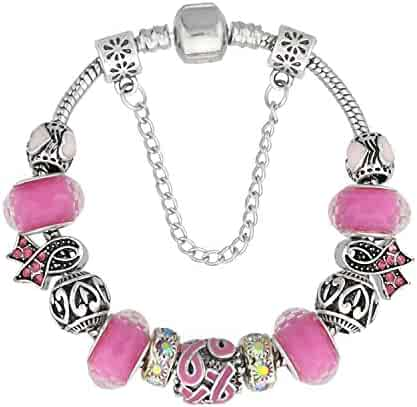 03cc91e65 KEORMA European Ribbon Charm Bracelet Vintage Handmade DIY Glass Beads  Strand Silver Plated Snake Chain Bracelet