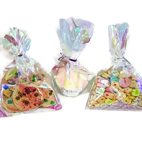 Bag Pastel - 75 Iridescent Holographic Cellophane Party Favor Treat Bags 5x7.5