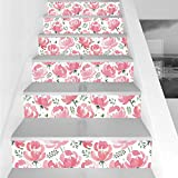 Stair Stickers Wall Stickers,6 PCS Self-adhesive,Flower,Watercolor Floral Art Print with Blooming Flowers Leaves Country Garden Theme,Light Pink Green,Stair Riser Decal for Living Room, Hall, Kids Roo
