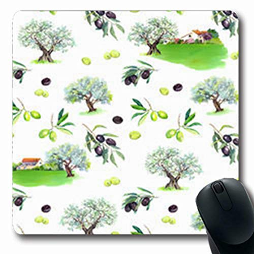NOWCustom Oblong Mousepads France Olive Branches Trees Rural Summer Farmhouse Food Drink Agriculture Nature Design Oblong Shape 7.9 x 9.5 Inches Non-Slip Rubber Mousepad Gaming Mouse Pad