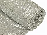 hinyBeauty Sequin Fabric Bolt Silver (15 Feet 5 Yards)