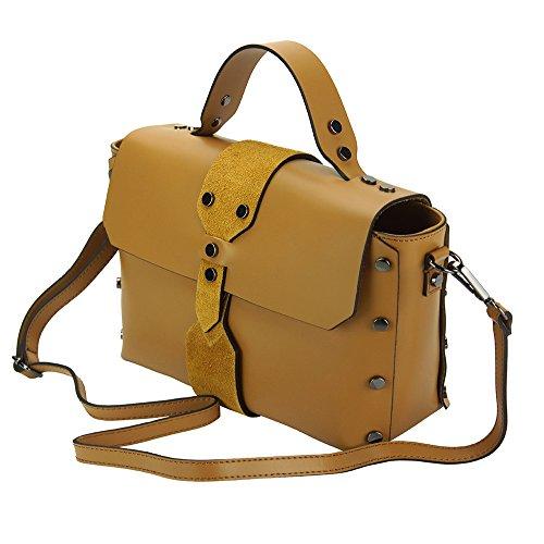 Cuoio 8053 Vera Florence Borsa Realizata Leather In A Mano Rossella Market Pelle qqP8v