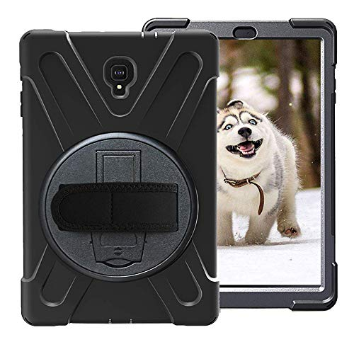 Rantice Case for Samsung Galaxy Tab A 10.5, Heavy Duty Rugged Full-Body Hybrid Shockproof Drop Protection Cover with Kickstand and Hand Strap for Galaxy Tab A 10.5 Inch T590/T595 2018 Model (Black) ()