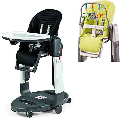 Peg Perego Black Stripes Tatamia High Chair with Kit, Verde