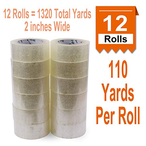 [ 12 Rolls 110 Yards Per Roll 2 inches Wide ] Heavy Duty Packaging Tape, Clear Packing Tape Designed for Shipping, Moving Boxes, Commercial Grade 2.7mil Thickness, 12 Rolls = 1320 Total Yards (12)