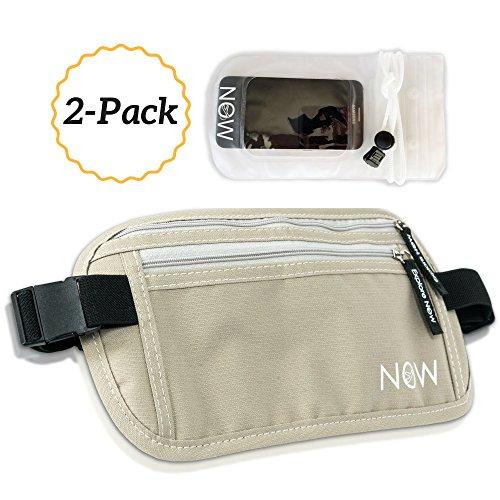 Hidden Travel Money Belt + Phone Pouch. RFID Fanny Pack, Passport Holder, Wallet (Beach Sand)