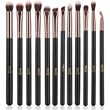 MSQ Eye Makeup Brushes 12pcs Rose Gold Eyeshadow Makeup Brushes Set with Soft Synthetic Hairs & Real Wood Handle for Eyeshadow, Eyebrow, Eyeliner, Blending - Rose Gold(without bag)