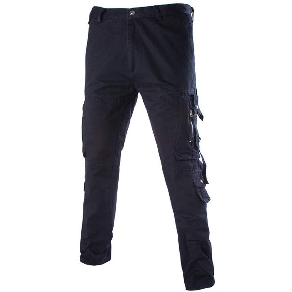 FarJing Pants for Men,Clearance Sale Men's Versatile Overalls Multi-Pocket Zipper Waist Loose Casual Trousers(Size:36,Black