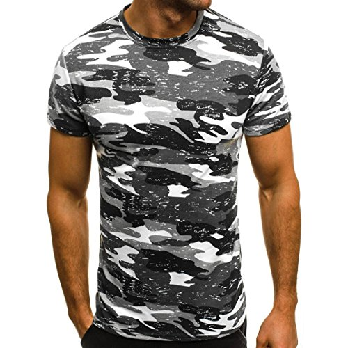 Big Promotion! Wintialy Men Muscle T-Shirt Slim Casual Fit Short Sleeve Camouflage Blouse Tops