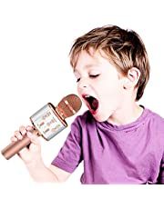 OVELLIC Karaoke Microphone for Kids, Wireless Bluetooth Karaoke Microphone with LED Lights, Portable Handheld Mic Speaker Machine, Great Gifts Toys for Girls Boys Adults All Age