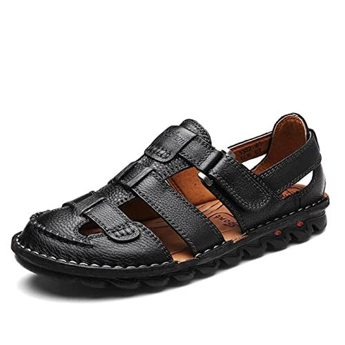 DANDANJIE Hommes Chaussures PU Printemps Eté Gladiator Sandales Boucle pour Casual Outdoor Light Brown Noir
