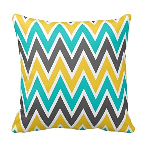 Aqua Yellow and Gray Chevron Zigzag Pattern Decorative - Coral And Yellow Decor