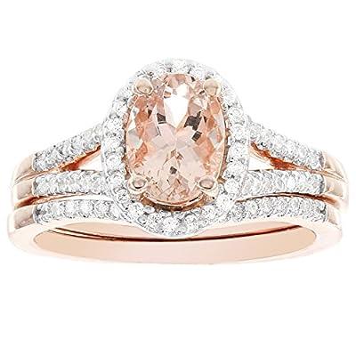14k Rose Gold Oval Morganite and 1/4ct Diamond Bridal Set (I-J I1-I2)