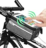 Bicycle Bag Waterproof, Cycling Frame Pannier Cell Phone Bag, Bike Front Top Tube Touchscreen Saddle Bag Rack Mountain Road Bicycle Pack Double Pouch Mount Phone Bags for Smartphone(fit up 6 inches)