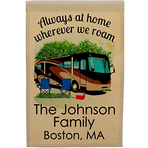 Class A Motorhome Camp Flag Personalized with 3 Lines of Custom Text in Addition to Always at Home Wherever We Roam (Black/Tan)