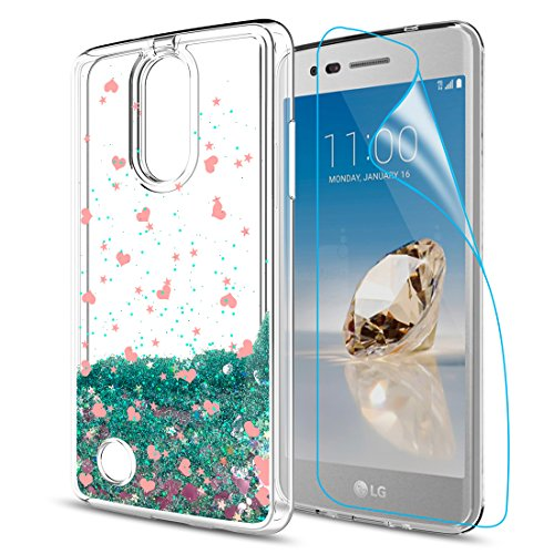 LG Aristo 2 X 210/Tribute Dynasty/Zone 4/Fortune 2/Risio 3/Rebel 3 LTE/K8+ K8 Plus Case with HD Screen Protector for Girls Women,Glitter Bling Liquid Clear TPU Protective Cases for LG K8 2018Turquoise