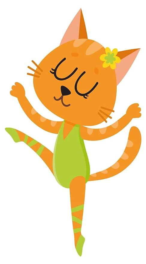 Pegatina de pared Guardería de música Gato de color como bailarín de ballet Imagen musical para
