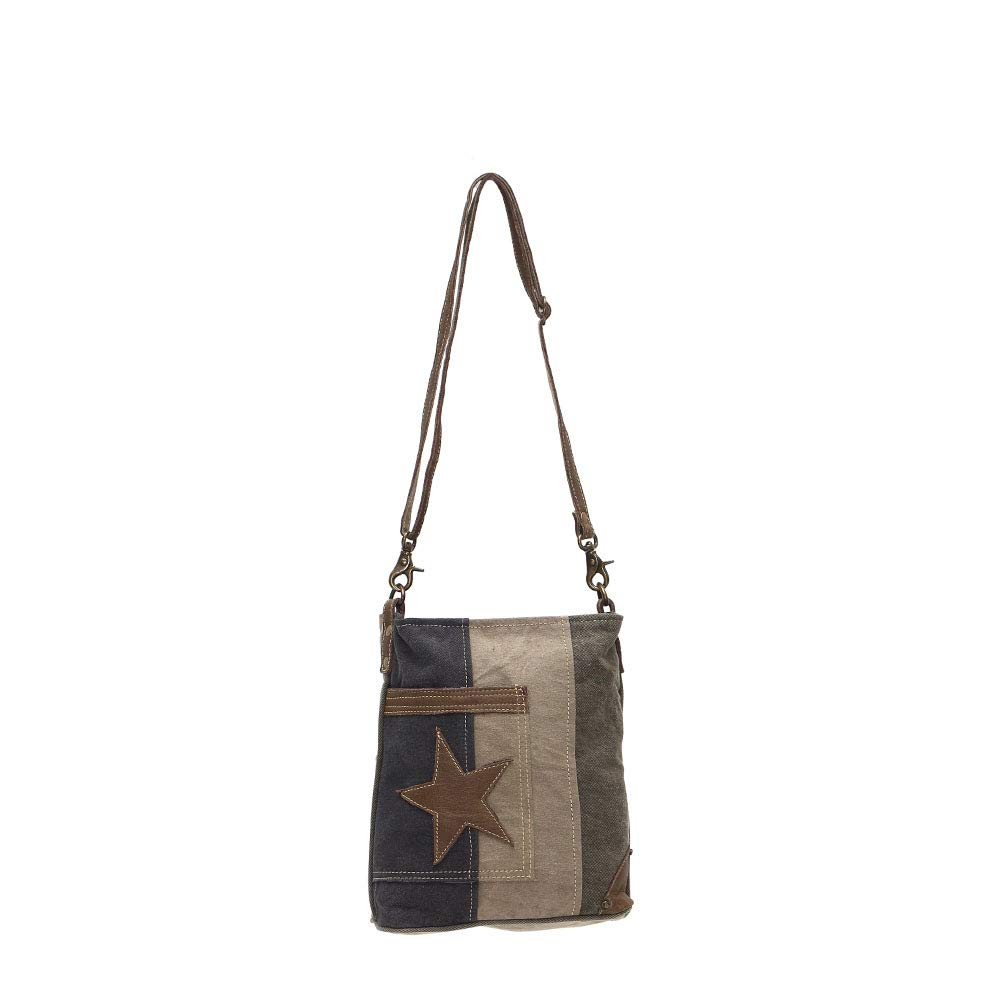 Myra Bags Star On Denim Upcycled Canvas Shoulder Bag S-0950