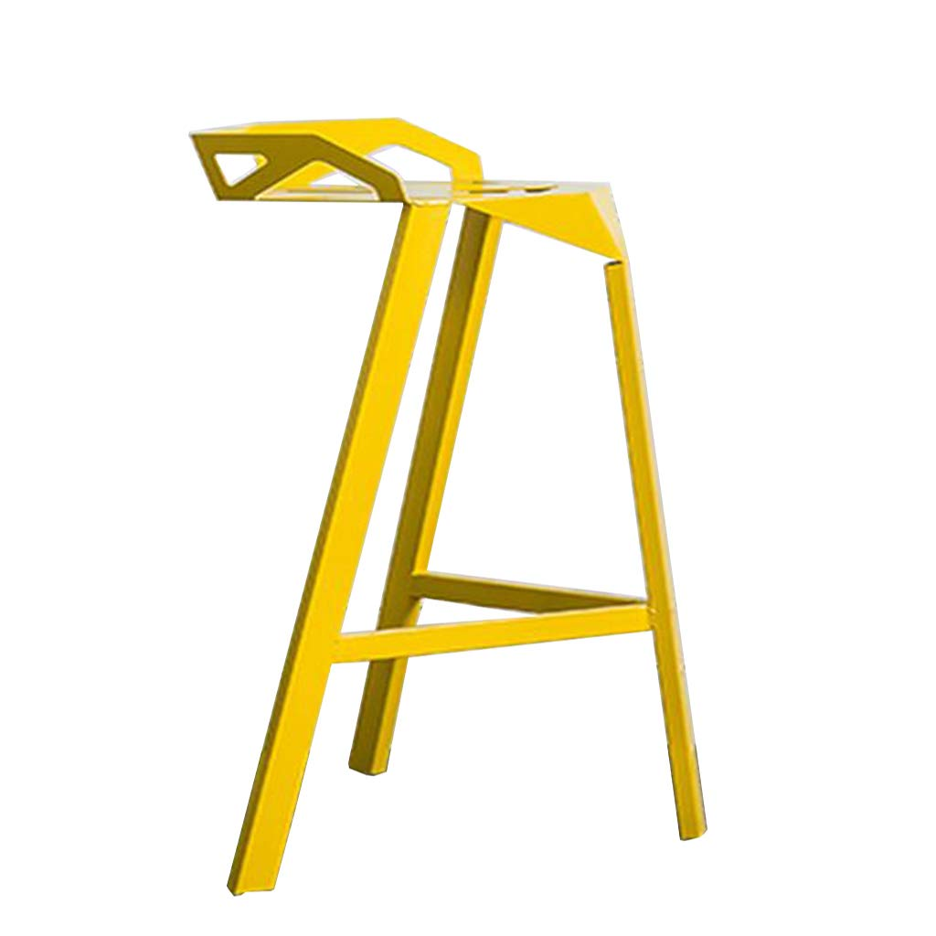 Yellow A-Fort DLDL Iron Fashion Personality Creative Home Cafe high Chair bar Stool (color   Black)
