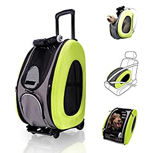 ibiyaya 4 in 1 Pet Carrier + Backpack + CarSeat + Carriers on Wheels for Dogs and Cats (Green)
