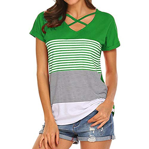 (HIRIRI Women's Tunic Short Sleeve Shirt Criss Round Neck Triple Color Block Stripe T-Shirt Casual Summer Top Green)