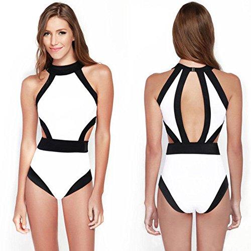 Bikini Mujeres Una Pieza IHRKleid® Entrecruzan Color Sin Respaldo Bikini Trajes De Baño Monokini Trikini Blanco