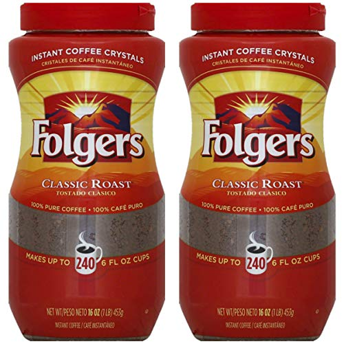 Instant Coffee Folgers - Folgers Classic Roast Instant Coffee Crystals - 16 Oz (Pack of 2)