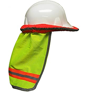 Safety Depot High Visibility Reflective Hard Hat Neck Sun Shade Meets ANSI & NFPA 701 (2010) Standards (Single Lime, Mesh)