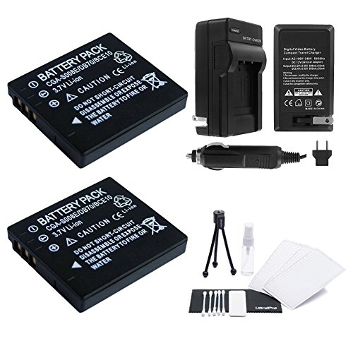 2-Pack DMW-BCE10 High-Capacity Replacement Batteries with Rapid Travel Charger for Panasonic Camcorders. UltraPro Bundle Includes: Camera Cleaning Kit, Screen Protector, Mini Travel Tripod (Camcorder Screen Cleaning Kit)