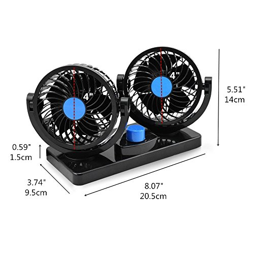 12V Fan Cooling Air Fan Powerful Dashboard Electric Car Fan Low Noise 360 Degree Rotatable with 2 Speed Adjustable for Vehicle Truck RV SUV or Boat by EXCOUP (Image #8)