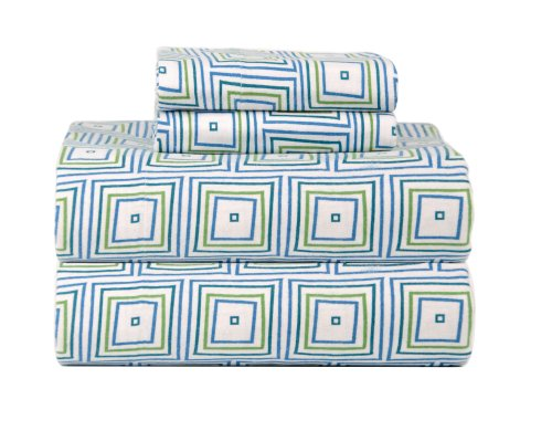 Celeste Home Ultra Soft Flannel Sheet Set with Pillowcase, Twin X-Large, Matrix (Matrix Twin)
